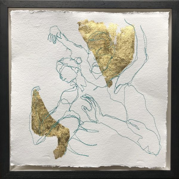 2 figures dancing, gold leaf